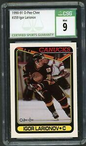 1990-91 O-Pee-Chee #359 Igor Larionov Graded RC CSG 9 MINT Vancouver Canucks