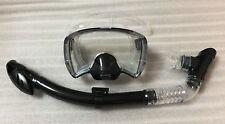 Scuba Snorkeling integrated wide vision Diving Mask/Dry Snorkel (black)