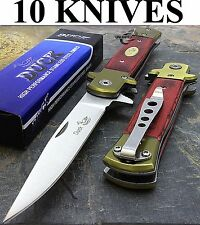 """10 x 9"""" DUCK SPRING ASSISTED TACTICAL STILETTO WOOD POCKET KNIFE Wholesale Lot"""