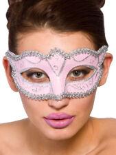 Ladies VERONA Masquerade Maschera costume palla Carnevale Burlesque Rosa e Argento