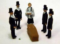 Funeral Scene 5 Coffin F64p PAINTED OO Scale Langley Model People Figures Metal