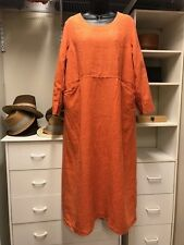 Veritecoeur Japan OS Linen Orange Back Key Hole High Waist Maxi Dress Pockets