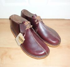 BNIB Clarks Originals mens DESERT TREK wine leather laced casual shoes
