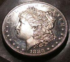 1880-S Morgan SILVER Dollar DEEP MIRROR PROOF LIKE DMPL GEM BU+  re punched date