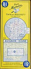 MICHELIN FRANCE 1960 COLOURED PAPER MAP of AVIGNON-DIGNE No 81 1:200 000