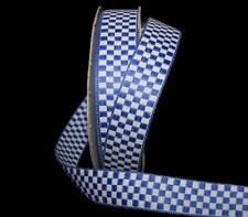 "5 Yards Royal Blue White Checked Gingham Woven Jacquard Ribbon 5/8""W"