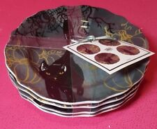 """222 FIFTH """"SCAREDY CAT""""~SET OF 4~HALLOWEEN APPETIZER PLATES~Buy 1 or more sets!"""