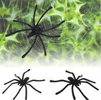 20P/SET Halloween Plastic Black Spider Joking Toys Decoration Realistic Prop HS