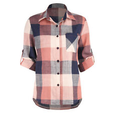 Womens Flannel Plaid Lapel Shirt Collared Blouse Tops Cardigan Button T-Shirt
