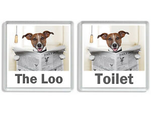 JACK RUSSELL READING A NEWSPAPER ON THE LOO Novelty Toilet Door Signs