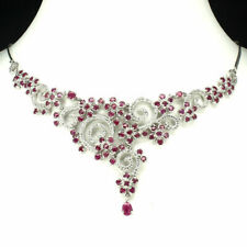 Sterling Silver Necklace Genuine Pink Ruby and Lab Diamond 17 1/2 Inch