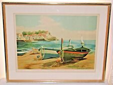 1960's Nautical Decor Barcas de Pesca Signed Numbered Print Eduardo Vial Hugas