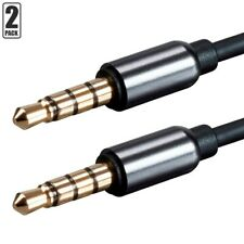 """2 Pcs 1Ft 3.5mm 1/8"""" Trrs Male to Male Aux Audio Mic Microphone Cable Cord Gold"""