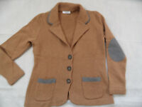 NICE CONNECTION schöne Strickjacke Blazerstil hellbraun Gr. 40  918