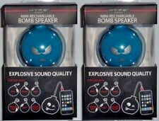 Lot of 2 Hype Bomb Rechargeable Mini Portable Keychain Speaker 3.5mm Blue