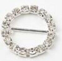 Round Rhinestone Silver Buckle Embellishment, 1.75-inch, 4-pack