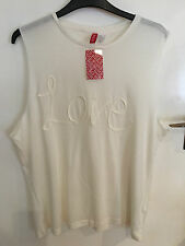 H&M CREAM DIVIDED SLEEVELESS T-SHIRT..SIZE M 12-14..BRAND NEW..LOVE PATTERN