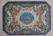 GRAND PLATEAU TABLE Armes Duc Saint Simon FAIENCE ROUEN Gravure POTTIER 1869
