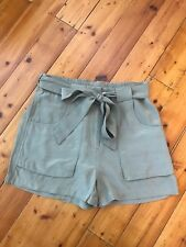 Witchery High-Waisted Tie Shorts Size 6 Khaki