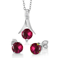 """Round Pink Ruby Solitaire Earrings Pendant 18"""" & Jewelry Set 14k White Gold Over"""