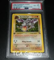 PSA 6 EX-MINT Aerodactyl 1/62 1ST EDITION PreRelease FOSSIL BROWN Pokemon Card