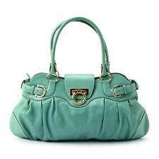 REDUCED  300 SALVATORE FERRAGAMO Leather HandBag LOOKS NEW Blue Green Teal  Aqua 14526fe13e32a