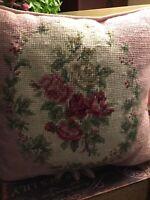 "Vintage Needlepoint Pillow-Pink W/Roses-11"" Sq-Light Pink Velvet Back-FREE SHIP!"
