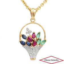 Estate Diamond Ruby Sapphire Emerald 10K Gold Flower Basket Dangle Pendant NR