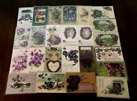 Lot of 25 Pretty *Purple~Violets Flowers~Vintage~Floral Greetings Postcards-c58