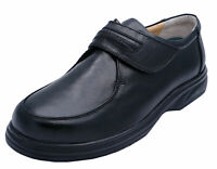 MENS BLACK LEATHER AMBLERS TOUCH STRAP SMART LOAFERS COMFORT SHOES UK 6-10