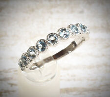 VTG 14K White Gold Stackable Aquamarine Anniversary Band Wedding Ring US SZ 7