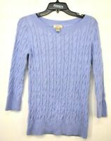 Ann Taylor Loft Womens Periwinkle Cotton Cable Knit Crew Neck Pullover Sweater M