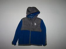 Us Polo Assn. boys youth size 4 jacket fleece zip up hooded gray blue coat sz 4