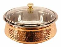 Indian Art Villa Hammered Steel Copper Casserole Donga Bowl With Glass Lid, 1030