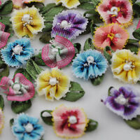 30pcs MixSmall Ribbon Flowers W/Bead Sewing Appliques Craft Wedding Decor E146