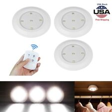 3x Wireless Stick On Puck LED Tap Lights Remote Under Cabinet Closet Night Light