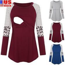 Women Pregnant Striped Maternity Clothes Nursing Tops Breastfeeding Shirt Blouse
