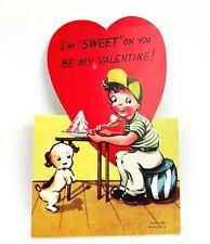 Valentines Card Vtg 40s 50s Ephemera Greeting Boy and Dog Sit Pretty Sugar Cane