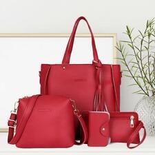 4pcs/Set Lichi Leather Tassels Women Tote Shoulder Clutch Card Bags Set