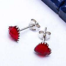 BEAUTIFUL Ruby HEART Studs .925 Sterling Silver Earring