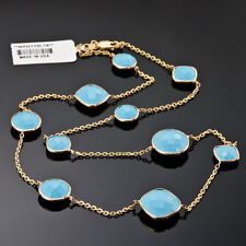 GEMSTONE NECKLACE - FACETED TURQUOISE & 14K YELLOW GOLD, CABLE CHAIN, 18 INCHES