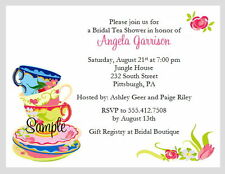 20 Personalized Custom Tea Party Bridal Shower Wedding Invitations Cards