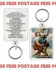 SAINT ST CHRISTOPHER TRAVELLING PRAYER PROTECT DOUBLE SIDED JUMBO KEYRING NEW