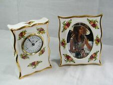 """Wedgwood/Royal Albert """"Old Country Rose's"""" Clock & matching Picture Fame, Suberb"""