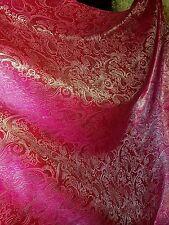 "1M cerice pink /gold COLOUR PAISLEY METALLIC BROCADE /JACQUARD FABRIC 58"" WIDE"