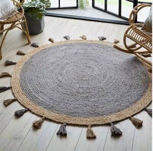 Grey Choti PomPOmJute Rug Carpet Braided Handcrafted Round Floor Decor Rugs Area