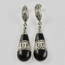 Impresionante Arte Deco inspirado Negro Onyx Marcasita Pendientes de plata esterlina 925