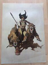 FRANK FRAZETTA The Huntress No. 68  FANTASY Litho PRINT 16 X 22 Vintage Prints