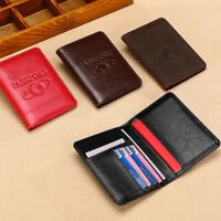 Mens Real Leather Passport Holder Travel Wallet ID Cards Tickets Cover Organizer