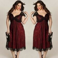 Women Plus Size Sexy V Neck Lace Dress Loose Casual GOTHIC Dresses Clothing